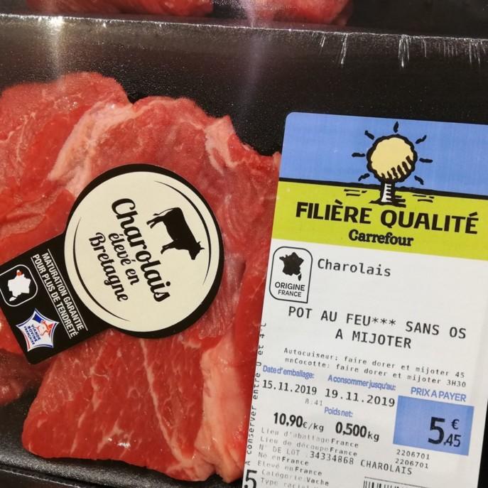 Une FQC Carrefour déjà existante en boeuf charolais standard. Photo : Linéaires.