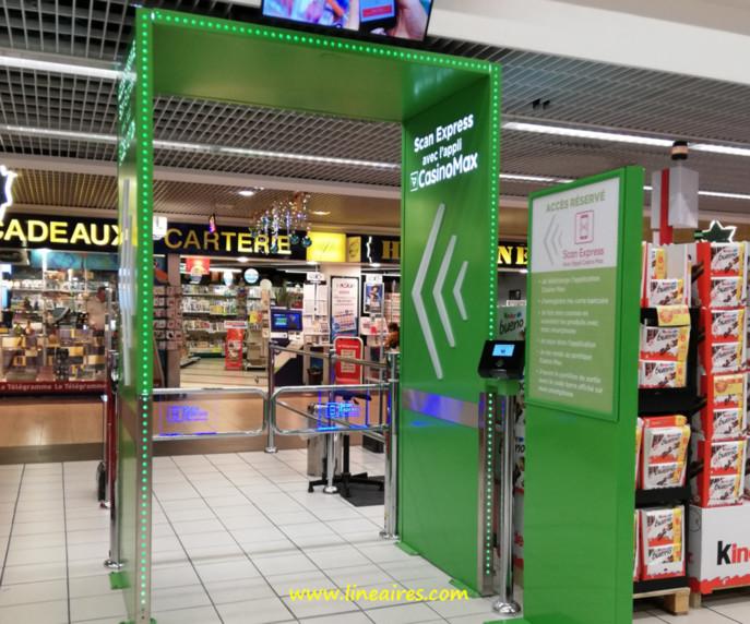 Les portiquesde sortie rapide Casino Max sont maintenant présents dans la quasi-totalité des hypermarchés Géant.
