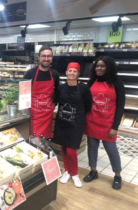 Julienne a été fondée en octobre 2018 par Laurent Guardiola (en photo avec son équipe), 37 ans, passé par Monoprix puis par Carrefour où il était directeur de l'offre e-commerce alimentaire.