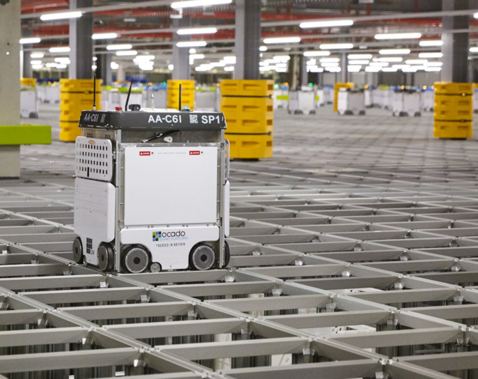 Les robots d'Ocado sont capables de préparer une commande de 50 articles en 5 minutes (photo Ocado).