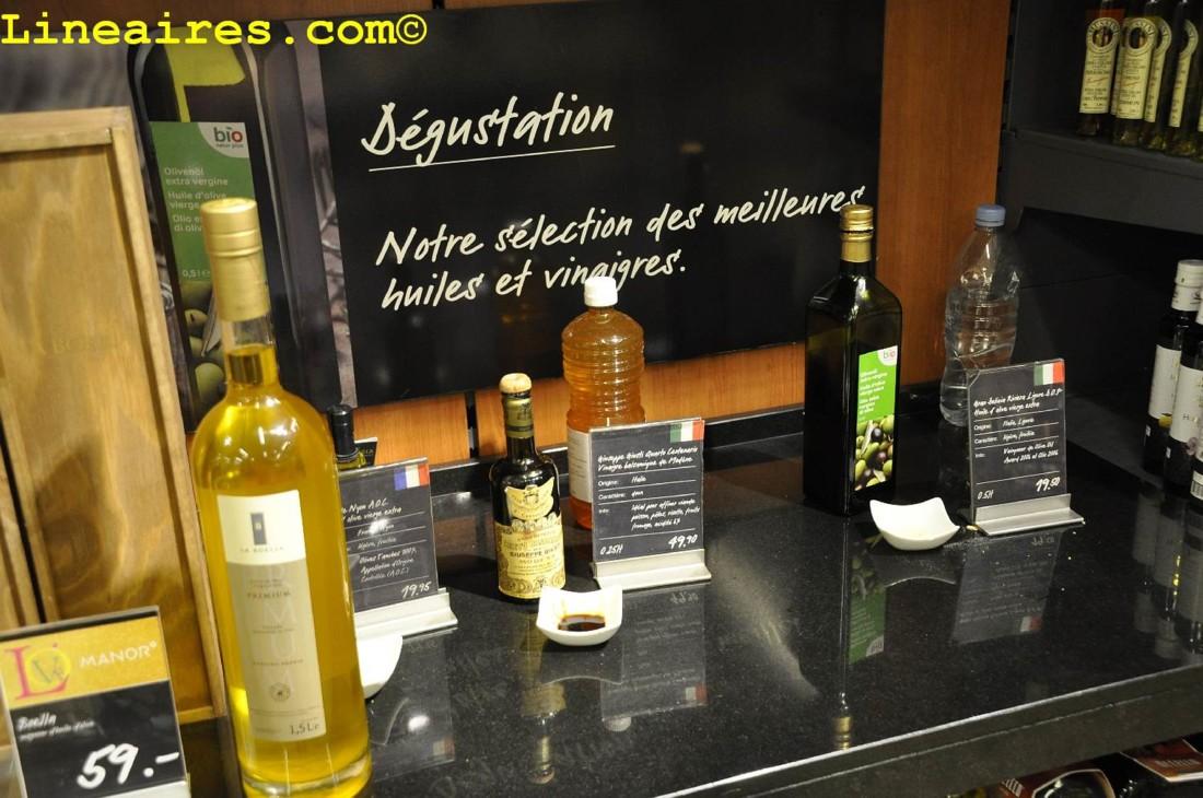 Un stand de dégustation d'huile et de vinaigres