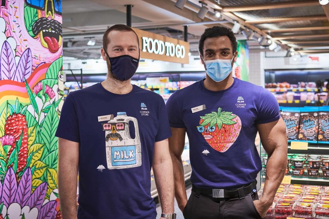 Le design étonnant du magasin s'applique aussi aux tenues des employés. Les engagements RSE de l'enseigne y sont aussi martelées. Photo : Corporate Pixel / Kyle Ford.