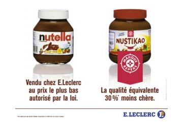 La comparaison frontale entre MDD et marque nationale a plusieurs fois été utilisée par Leclerc