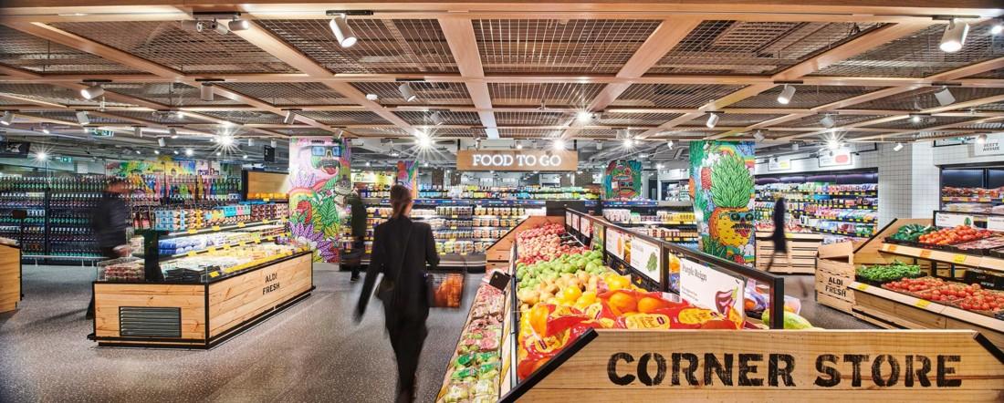 Une autre vue générale du design décoiffant du Aldi Corner store de Sydney. L'objectif : personnaliser chaque magasin et l'insérer dans l'environnement de son quartier. Photo : Corporate Pixel / Kyle Ford.