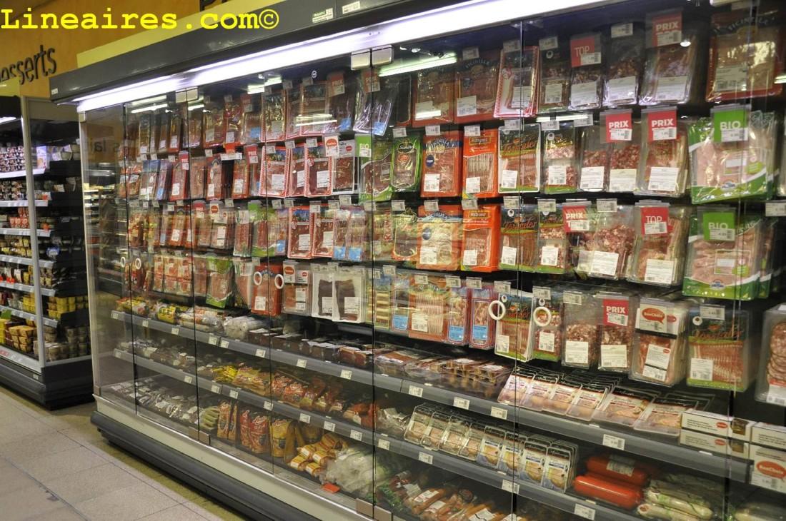 Présentation verticale de la viande